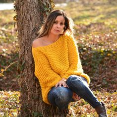 Hand Knitted Wool Sweater Yellow Slouchy Soft Boat neck Hand made Spring Summer Jumper Oversized Pul Oversized Jumper, Chunky Knit Cardigan, Summer Jumpers, Online Clothing Boutiques, Sweater Fashion, Women's Fashion, Fashion Project, Yellow Sweater, Knitting Accessories