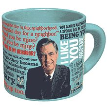 This friendly Mister Rogers Sweater Changing Mug features favorite Mister Rogers quotes, song lyrics, and images from the Neighborhood of Make-Believe. When you add hot water, Mister Rogers changes from a suit jacket into his cardigan, ready to make it a snappy new day!