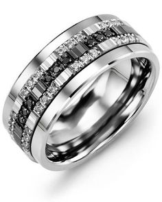 Black White Trio Diamond Wedding Band  Shine on your wedding day and everyday thereafter with this dazzling Black and White Trio Diamond Wedding Band. A monochrome masterpiece for modern brides and grooms, it is available as a ceramic ring, tungsten ring or cobalt ring, and it is offered a variety of black and white diamonds to complement your unique sense of style. The two-tone inlay comes in 10kt, 14kt and 18kt options, and the inside of the ring can be personalised with our engraving…