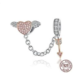 Cupid Safety Chain Charm Kids Jewelry, Charm Jewelry, Jewelry Sets, Jewlery, Sterling Jewelry, Sterling Silver, Heart With Wings, Pandora Bracelet Charms, Minimal Jewelry