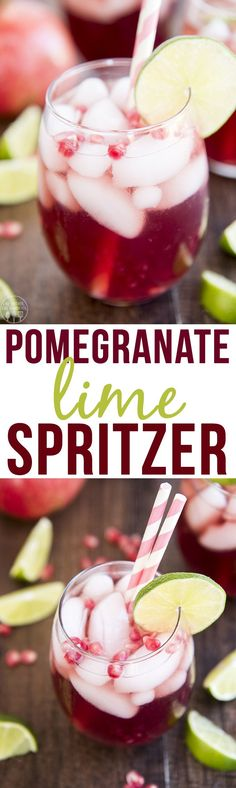 This Pomegranate Lime Spritzer is the perfect fall drink with minimal ...