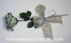 crafty sahm i am: Dollar Bill Rose TUTORIAL Origami Star Box, Origami Fish, Origami Love, Origami Design, Paper Crafts Origami, Origami Art, Origami Money Flowers, Money Rose, Creative Money Gifts