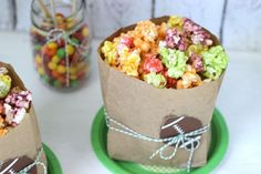 Skittles Popcorn in Football embossed paper bags