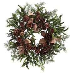 """For those that love a more classic look, there is no finer selection than this beautiful Pine & Pine Cone Wreath w/Burlap Bows 24"""". A cluster of pine cones"""