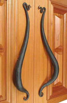 Custom Door Handles: Fine Art Hand Forged Pulls And Knobs - built to last by the hands of master blacksmith. Door Pulls, Door Handles, Drawer Pulls, Custom Forge, Door Knobs And Knockers, Blacksmith Projects, Wrought Iron Gates, Forging Metal, Iron Art