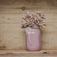 1 Dusty plum painted mason jar. Wedding centerpieces. Guestbook pen jar. Pen holder. Makeup brush holder. Home decor. Plum vase. on Etsy, $14.17 AUD