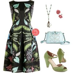 Let's Be Surrealistic Dress in Mirror by modcloth on Polyvore featuring Restricted and Orla Kiely