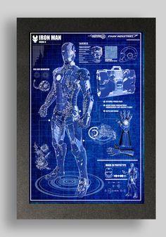 Iron Man Mark 5 Suit Blueprints 16x24 by RyanHuddle on Etsy