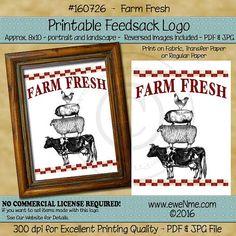 Farm Fresh Stacked Farm Animal Printable Feedsack by ewenmedesigns