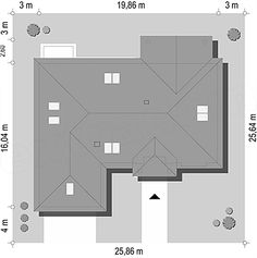 Usytuowanie projektu Willa Parkowa 5 na działce Bungalow, House Plans, Floor Plans, House Design, How To Plan, American Houses, Plants, Homes, House Floor Plans