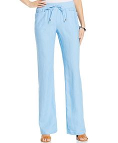 Style&co. Wide-Leg Linen Drawstring Pants