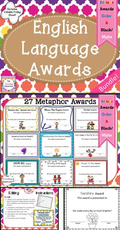 """English Language Awards (A Growing Bundle) are a perfect activity for end of the year awards or anytime during the year to help solidify your students understanding of the English language. (Idioms, metaphors, similies, & more!)$ """"Love, love, love this!! My students loved learning about idioms so when I saw this product, there was no way I could pass it up!"""" (Rachael, Middle School Teacher)"""