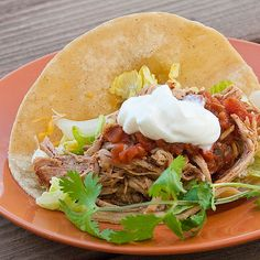 Too Easy Pork Tacos: country style boneless pork ribs, apple juice, and taco seasoning in the slow cooker