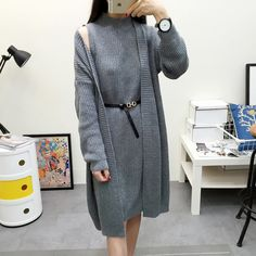 2017 Autumn Winter Knitting Long Pullover Sweater Cardigan Women Two Piece Suit 4 Color Poncho Two Piece Sweater Women Plus Size