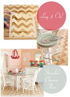 Stencil a Chevron Floor pattern on a wood floor as featured in Lowe's Creative Ideas