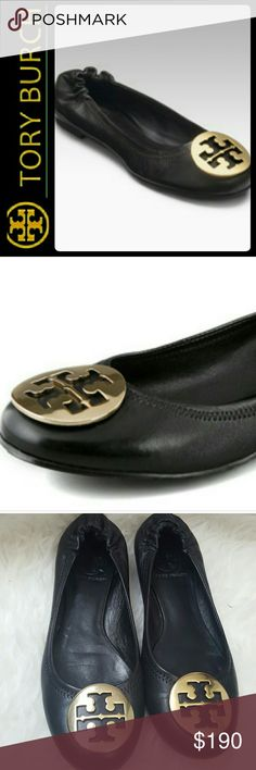 Tory Burch Leather Reva Ballet Flats Tory Burch Signature Leather Shoes in Classic Black Reva Ballet Flats! Featuring Iconic Tory Burch Gold Logo Metal on Vamp with Tonal Stitching Throughout!   Chic and Trendy - a Must Have for Tory Lovers! Goes with Anything! Stretchy Fit at the Ankle, Soft Padded Footbed for Added Comfort! Rubber Outsole! Worn Couple Times, Good Used Condition! Size 6.5 Tory Burch Shoes Flats & Loafers
