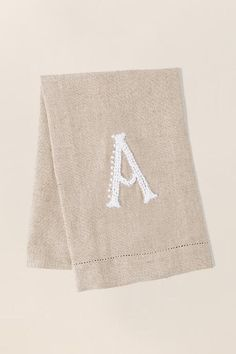 """A"" French Knot Initial Towel 