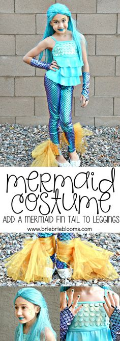 DIY Mermaid Costume - learn how to add a mermaid fin tail to leggings - Brie Brie Blooms Toddler Mermaid Costumes, Scary Kids Costumes, Diy Girls Costumes, Blonde Halloween Costumes, Cute Baby Costumes, Easy Diy Costumes, Couple Halloween Costumes For Adults, Halloween Costumes For Girls, Diy Mermaid Costume