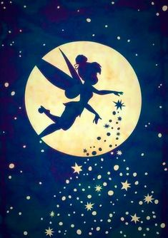 Disney Fairy, Tinkerbell, sprinkling her pixie dust as she flies past the moon and the stars Hades Disney, Disney And Dreamworks, Disney Pixar, Walt Disney, Expo Disney, Disney Villains, Disney Mickey, Sf Wallpaper, Disney Wallpaper