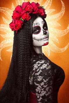 Day of dead Mehr Day Of Dead, Day Of The Dead Mask, Day Of The Dead Girl, Day Of The Dead Skull, Sugar Skull Girl, Sugar Skull Makeup, Sugar Skulls, Maquillage Halloween, Halloween Makeup