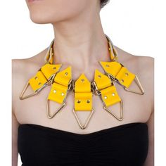 Anubis Yellow Leather Necklace by MOXHAM