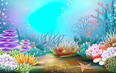 Underwater Cartoon, Underwater Painting, Mermaid Wallpapers, Sea Plants, Ocean Wallpaper, Banner Backdrop, Princess Drawings, Mermaid Coloring, Underwater Creatures