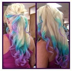 Blue and purple dip dyed blonde hair - It's pretty but I couldn't have it for work.