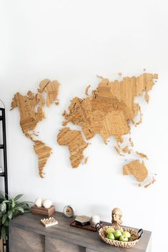 Office Wall Decor by GaDenMap. Push Pin travel map for wall decor in office room, bedroom, living room, kid's room decorating. Unique gift idea for travelers. Wooden 3D World Map Wall Art, World Map Wall Mural, Push Pins Travel Map, Office Wall Art, Map Wall Hanging, Gift World Map #mapwallart #livingroomdecor #bedroomdecor