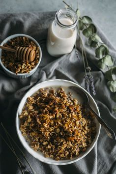 Honey Lavender Granola | Enjoy lavender for breakfast in this simple granola recipe--ready in under 30 minutes! | thealmondeater.com