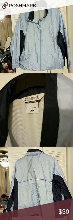 Columbia windbreaker jacket lightweight 3X womens Like new Columbia jacket with hidden hood in collar. Light Blue and dark blue. Smoke free home. Columbia Jackets & Coats Utility Jackets