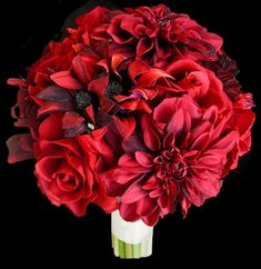 Red Roses & Specialty Red Dahlias Bouquet - A Bold Mix!