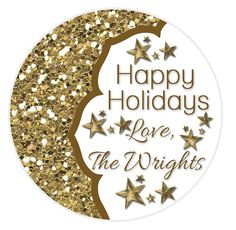 Happy Holiday Stickers Gold Glitter Stickers by MoonLitPrintables