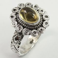 Real CITRINE Gemstone 925 Sterling Silver Beautiful Design Ring Size UK O1/2 NEW #SunriseJewellers #Fashion