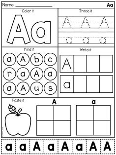 Letter A alphabet worksheet. Students will identify, trace, locate and write eac… Letter A alphabet worksheet. Students will identify, trace, locate and write each letter of the alphabet. Preschool Writing, Preschool Learning Activities, Preschool Letters, Homeschool Kindergarten, Free Preschool, Alphabet Activities, Kindergarten Worksheets, Preschool Lessons, Alphabet Writing Practice