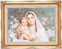 Blessed Mother and Child Jesus amongst the flowers.