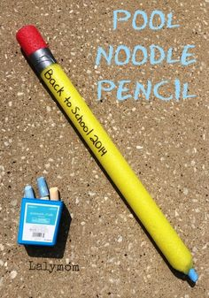 Loving this idea for toddlers and up! Got a pool noodle and some jumbo chalk?  Pool Noodle Pencil - LalyMom #backtoschool #pencil #craft #teacher #kids #classroom #homeschool #diy #chalk #poolnoodle #toddler #preschool #kindergarten #elementary
