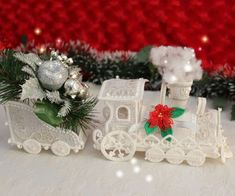 """From Louisa Meyer Originals! """"Christmas Polar Express"""" This design set will be ideal for your holiday display this year. Fun to stitch, all aboard for your set now! New Embroidery Designs, Custom Embroidery, Embroidery Applique, Embroidery Ideas, Christmas Crafts, Christmas Desserts, Christmas Ornament, Christmas Ideas, Freestanding Lace Embroidery"""