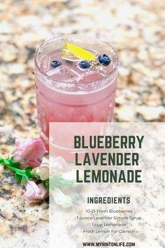 Simple Blueberry Lavender Lemonade Recipe – My Hint On Life – Healthy Drinks Easy Lemonade Recipe, Flavored Lemonade, Homemade Lemonade Recipes, Lavendar Lemonade Recipe, Lavender Water Recipe, Lemonade Drink, Refreshing Drinks, Summer Drinks, Fun Drinks