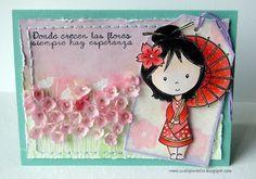 Sueli nos deleita con otra hermosa tarjeta usando los sellos de Latina Crafter en español!!
