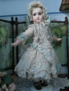 ~~~ Fine Antique Hand-Embroidery Muslin Dress with Bonnet ~~~ from whendreamscometrue on Ruby Lane