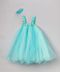 Turquoise Tulle Dress & Flower Headband - Infant, Toddler & Girls by Frills Du Jour #zulily #zulilyfinds