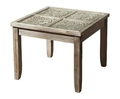 Mesa auxiliar de madera de abeto y DM - natural
