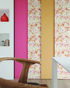 Panel blinds are a versatile and contemporary way to control light, glare, view and privacy in your home. These stylish blinds are perfect for patio doors. Contemporary Vertical Blinds, Patterned Blinds, Panel Blinds, Roller Blinds, Patio Doors, Large Windows, Pattern Mixing, Living Spaces, Prints