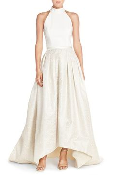 Theia High/Low Jacquard Ballgown available at #Nordstrom