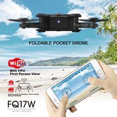 FQ777 FQ17W 2.4G 6 Axis Gyro Mini WiFi FPV 0.3MP Camera Drone Altitude Hold Foldable Pocket RC Quadcopter BNF Black - Tmart