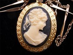 Avon Celluloid Cameo Necklace Vintage