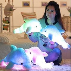 Supper Cute Design Little Stuffed Toys - Sparkling Dolphin Plush Toy with LED Light (White, 18 Inch)
