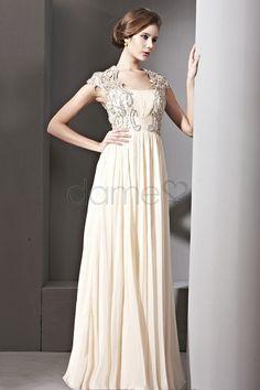 ??? Chiffon A-Linie Durchsichtiger Rücken bodenlanges drapiertes romantisches ärmelloses Abendkleid