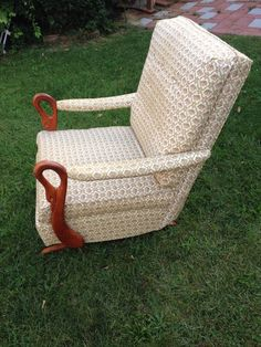 1940s Platform Rocker With Swan Gooseneck Arms Vintage Chair LOCAL PICK UP  ONLY