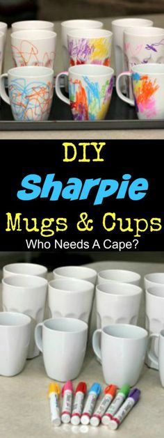 - These DIY Sharpie Ceramic Mugs and Cups are such a fun family project. Let the k… These DIY Sharpie Ceramic Mugs and Cups are such a fun family project. Let the kids decorate and give as gifts, they'll be a treasured momento. Mug Crafts, Sharpie Crafts, Diy Sharpie Mug, Sharpies On Mugs, Mug Decorating Sharpie, Decorating Cups, Sharpie Mug Designs, Sharpie Projects, Diy Mug Designs